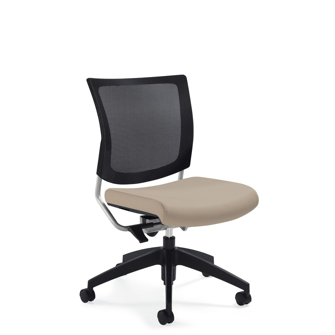 Graphic mesh posture back armless chair, model 2736MB. This chair has been placed on a white background.