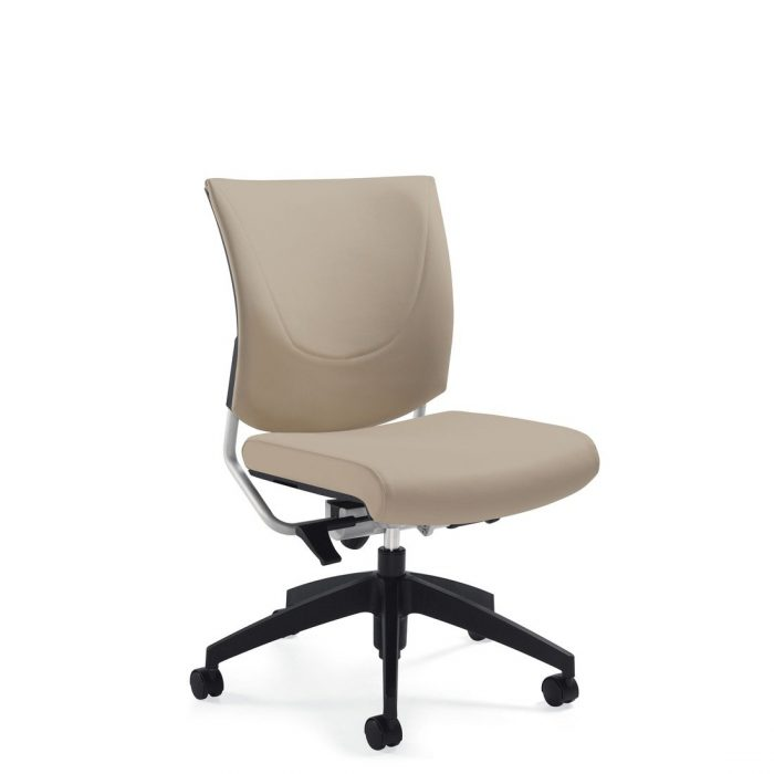 Graphic upholstered posture back armless chair, model 2737. This chair has been placed on a white background.