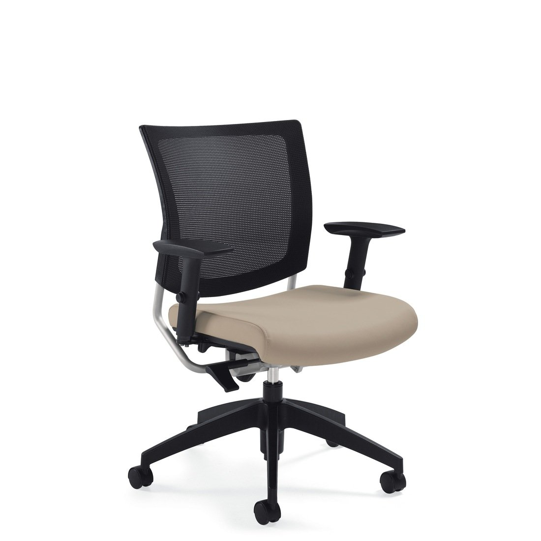Graphic mesh posture back chair, model 2738MB. This chair has been placed on a white background.
