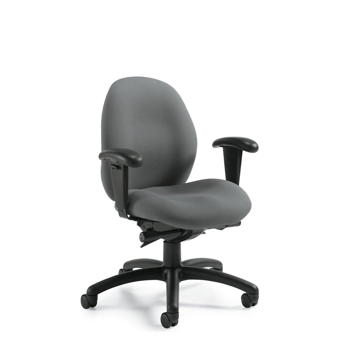 Malaga low back synchro-tilter chair, model 3140-0. This chair has been placed on a white background.