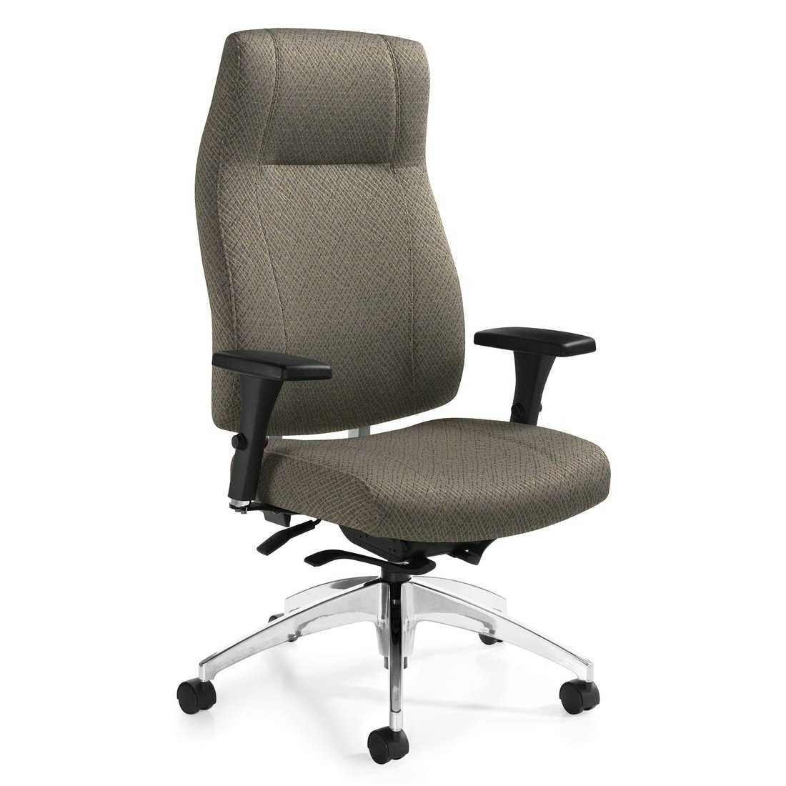 Triumph high back weight sensing Synchro-tilter chair, model 3650-8. This chair has been placed on a white background.