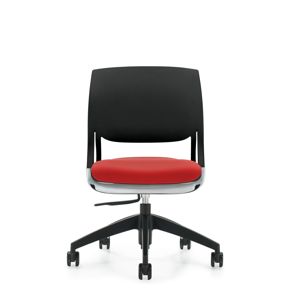 Novella armless task chair with upholstered seat and polypropylene back. The model 6401 chair has been placed on a white background.