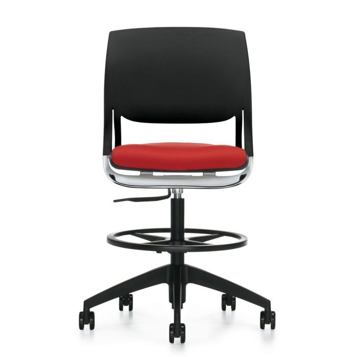 Novella armless task stool with upholstered seat and polypropylene back. The model 6411 chair has been placed on a white background.