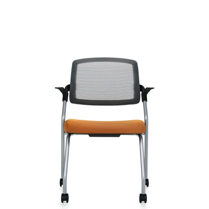 Spritz flip seat nesting armchair, model 6765C. This chair has been placed on a white background.
