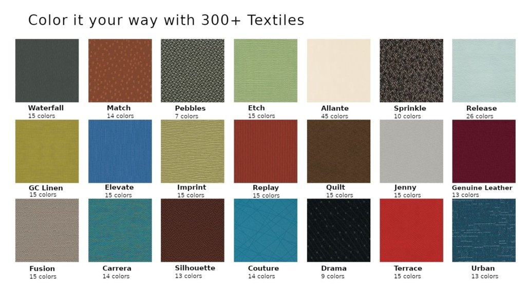Swatch set showing some of the available 2-Day Lightning fabrics. Ask us about the full color selection when you call.