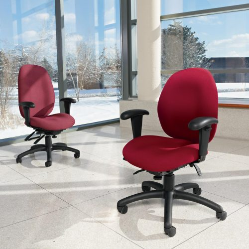Studio photography of two red Malaga rolling office chairs.