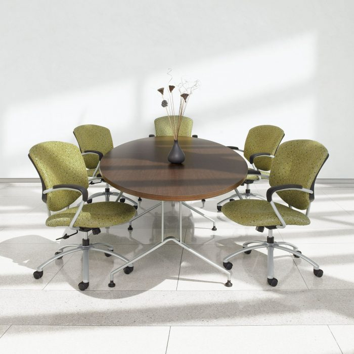 Studio shot of five Supra X conference chairs, placed around an oval table.