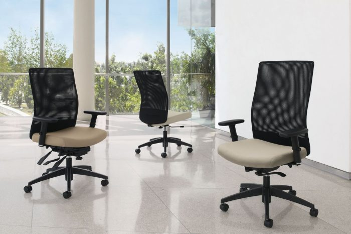 Studio photography of three high-backed Weev chairs. Each chair has a black mesh back and cream upholstered seat cushion.