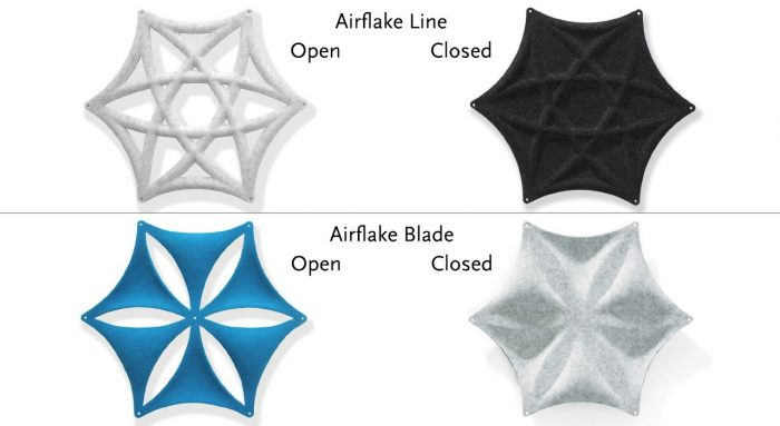 Simple shot comparing the open and closed designs on Airflake acoustics.