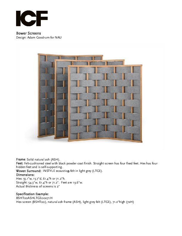 Thumbnail for the Bower acoustic screen brochure.
