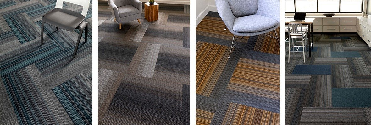 4-way collage of Umbra II carpet in its available color schemes. The photo of the far right is taken inside a laboratory classroom, with the rest of the images containing guest chairs.