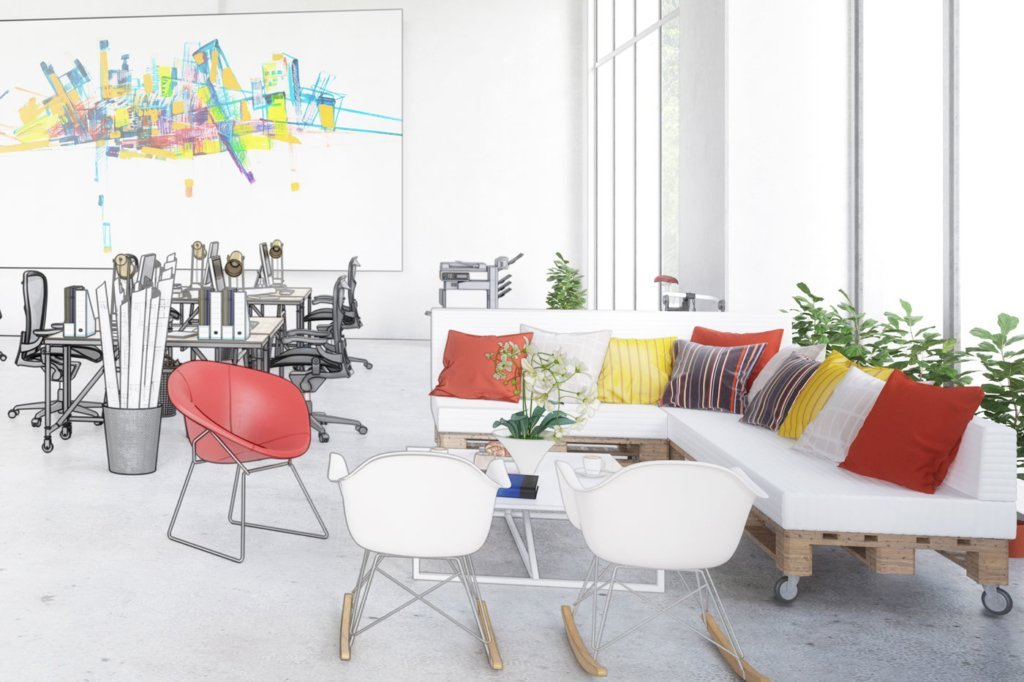 colorful office furniture and sketch of office workstations