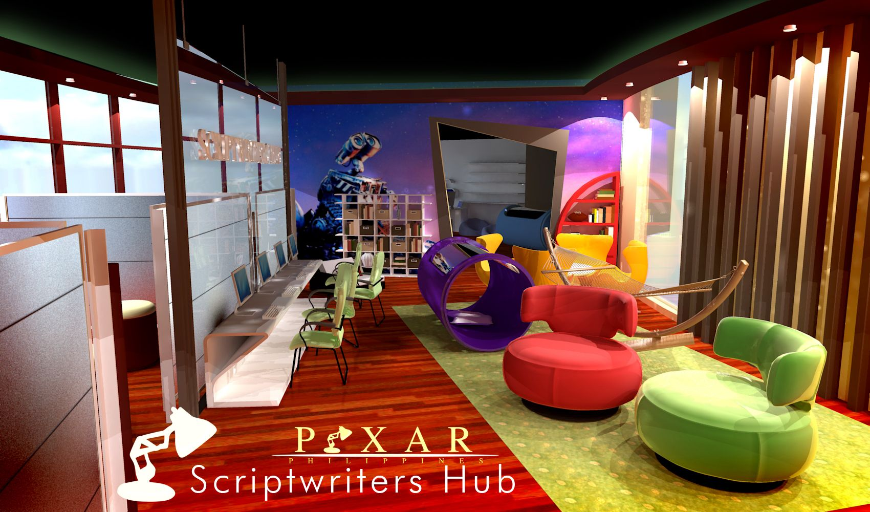 collaborative office space for pixar scriptwriters