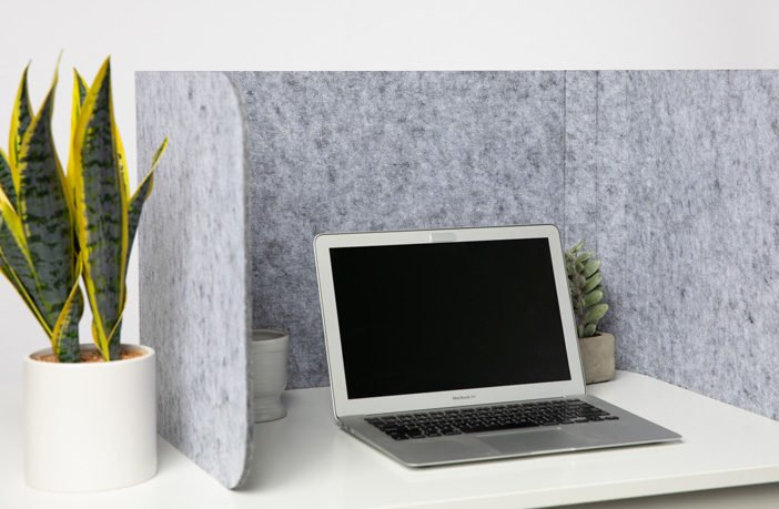 Hide privacy screen placed at a white desk. A laptop is open, with a plant to the left side of the Hide screen's wall.