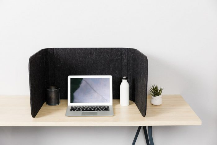 Hide privacy screen, using charcoal colored PET. A laptop is open, with a plant to the right side of the Hide screen's wall.