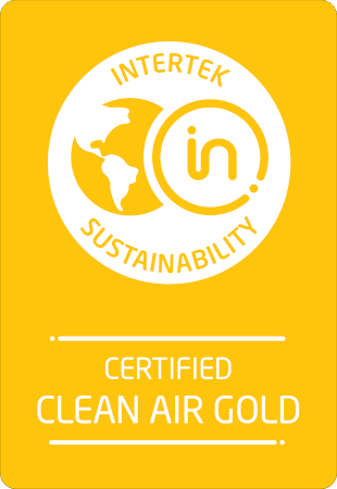 "Logo for the Intertek's Sustainability certification. Ranked ""Clean Air Gold""."