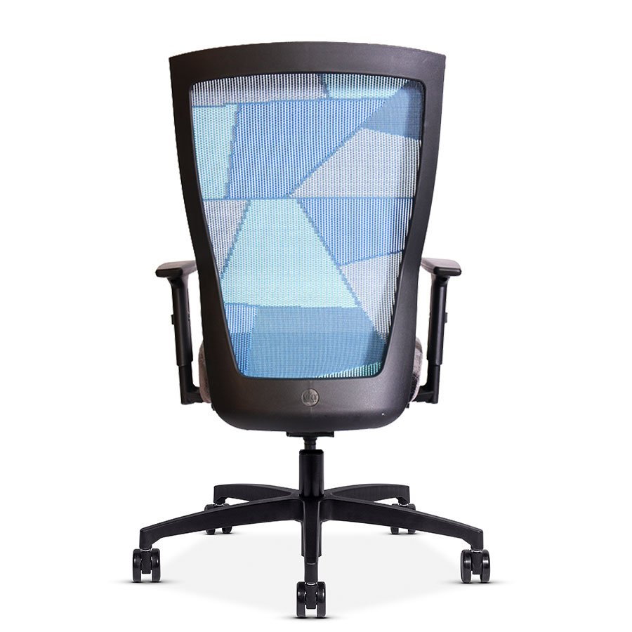 Quarter view of a Run II office chair with blue patchwork style mesh back.