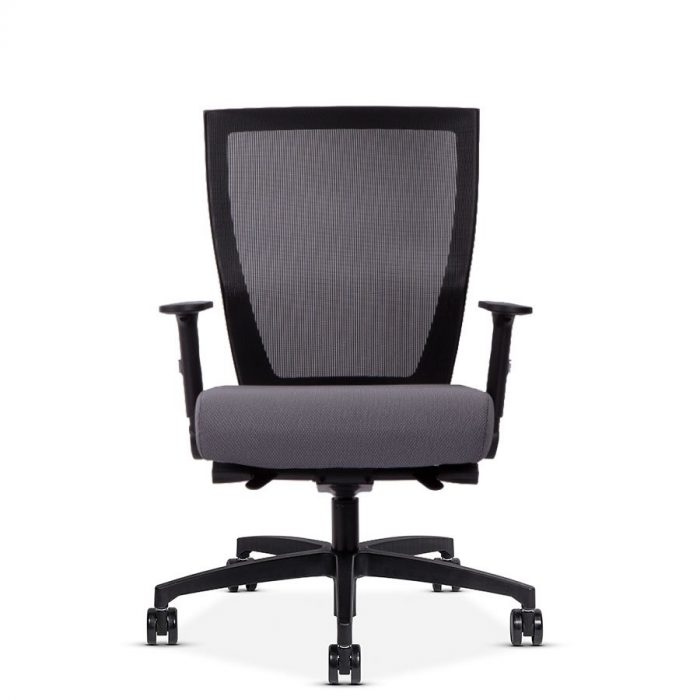 Front view of a Run II mesh back office chair with grey cushion.