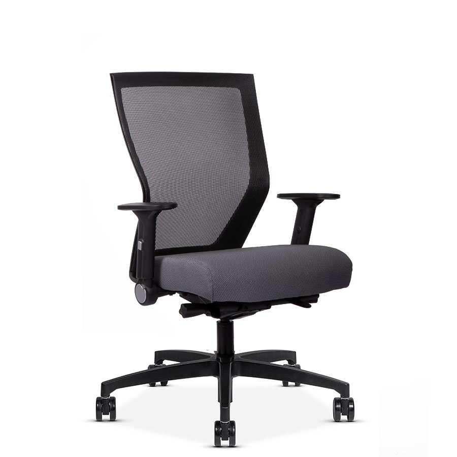 RunII Mid-Back Chair with Grey Seat - Modern business office furniture
