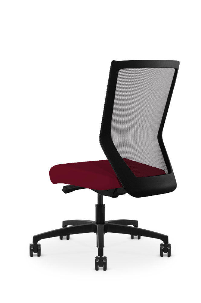 Run II high-back chair, facing away. The seat is upholstered in cardinal red leather fabric, and has a grey mesh back.