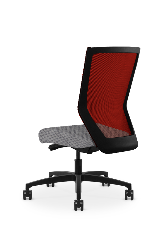 Run II high-back chair, facing away. It has a grey check pattern on the seat, with a red mesh back.