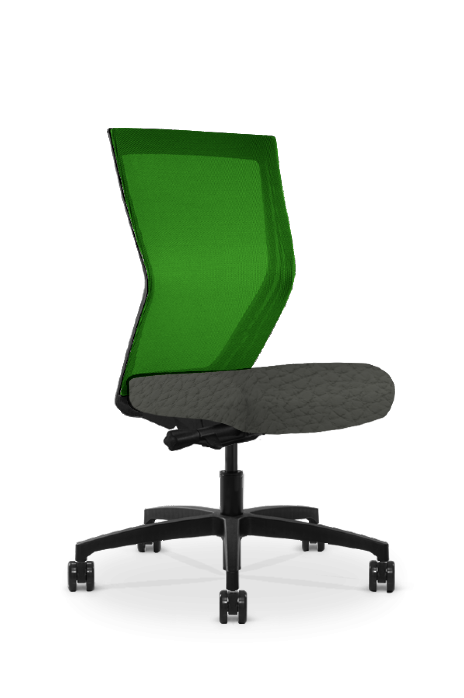 Quarter view of a Run II high-back chair, with a green mesh back and dark grey seat cushion.