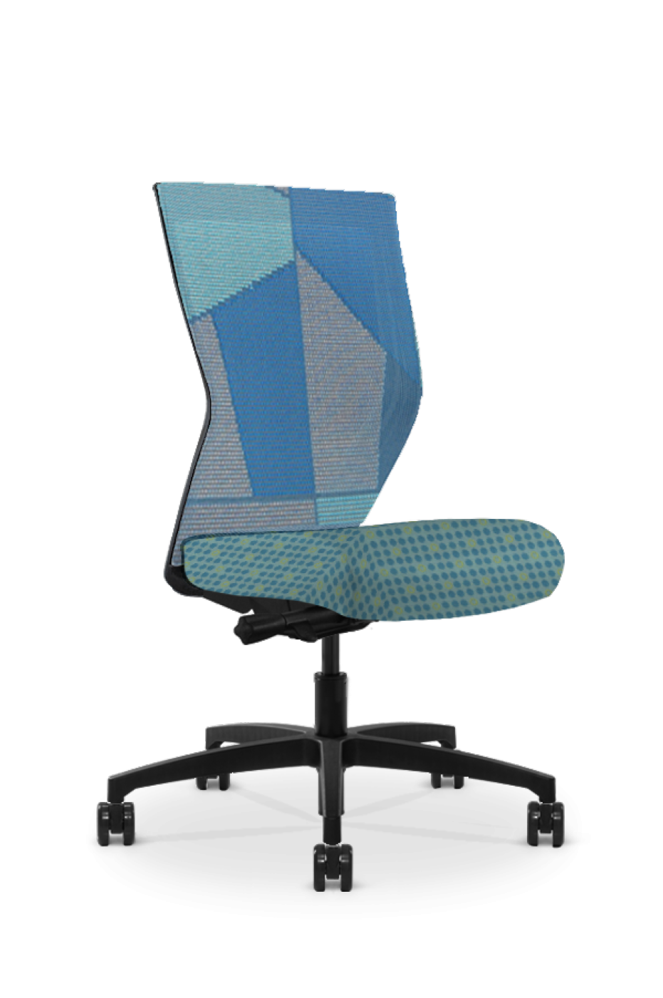 Quarter view of a Run II high-back chair, showing a combination of two patterns. The mesh back features a blue patchwork design, and the sea green cushion features a dot pattern.