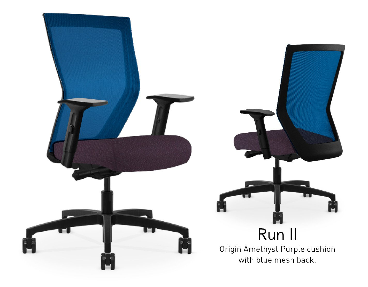 Composite image of a Run II high-back chair, front and back. It has a dark purple cushion seat, adjustable arms, and blue mesh back.
