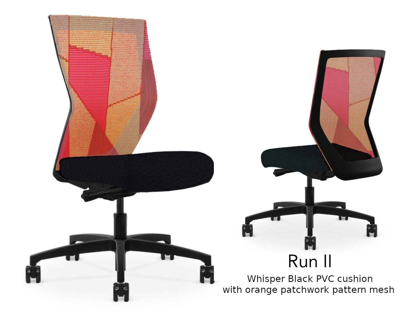 Composite image of a Run II high-back chair, front and back. It has a black PVC cushion, and an orange patchwork mesh back.
