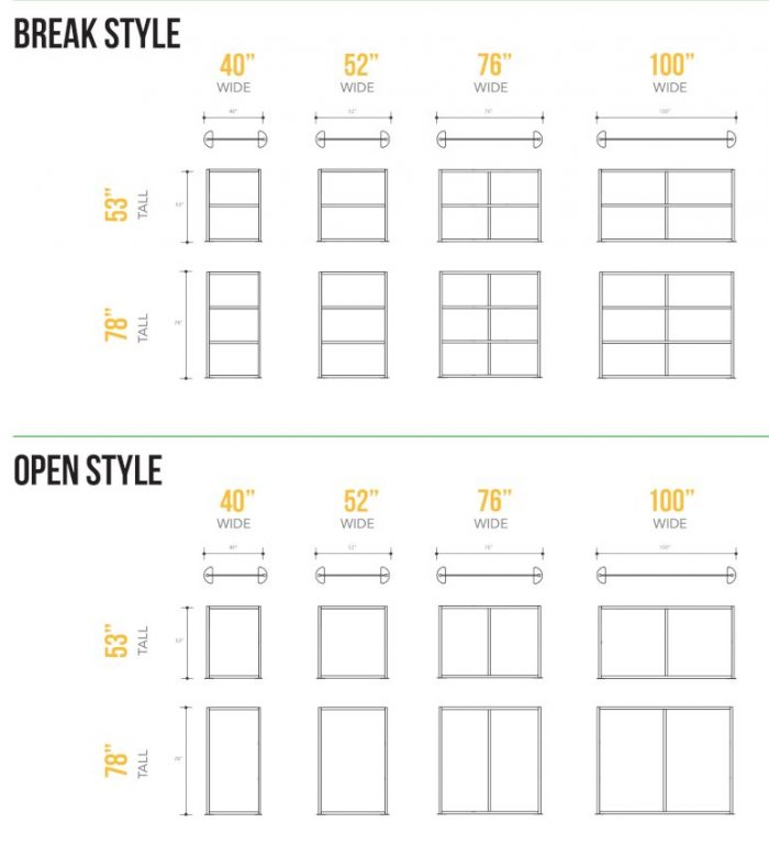 """Simple diagram showing both """"break style"""" and """"open style"""" configurations. Choose the width of your Split panels."""