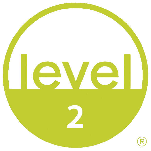 Logo for the BIFMA furniture sustainability certification. It is ranked Level 2.
