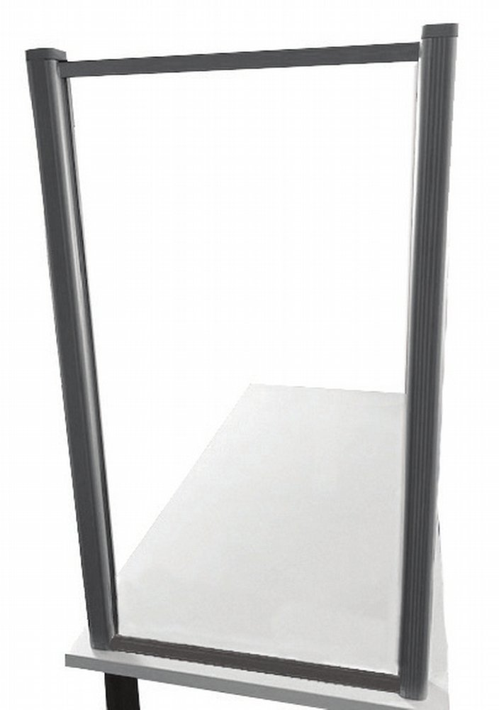 Facing a Borders (model) screen that is mounted on the end of a table.