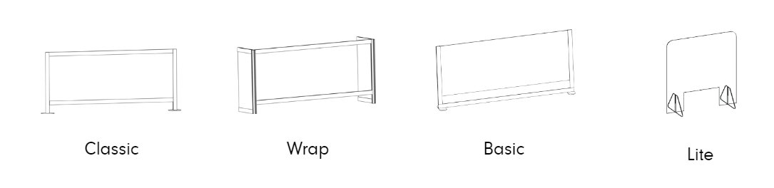 Side by side illustrations of Loftwall's line of Counter Shield model screens.