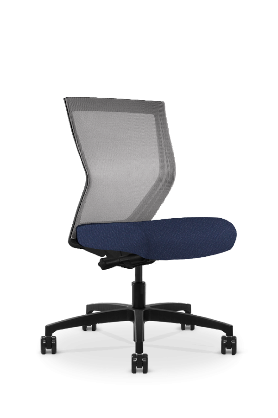 Run II High Back Black Frame Office Chair with Orange Grey Mesh Back