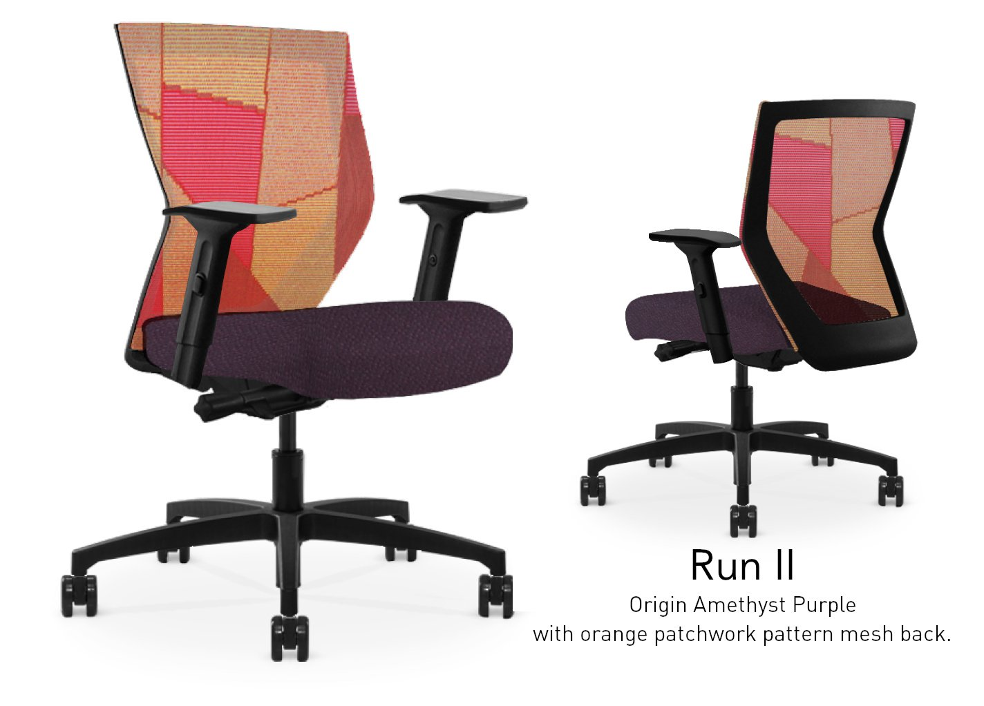 Run II High Back Black Frame Office Chair with Orange Patchwork Mesh Back