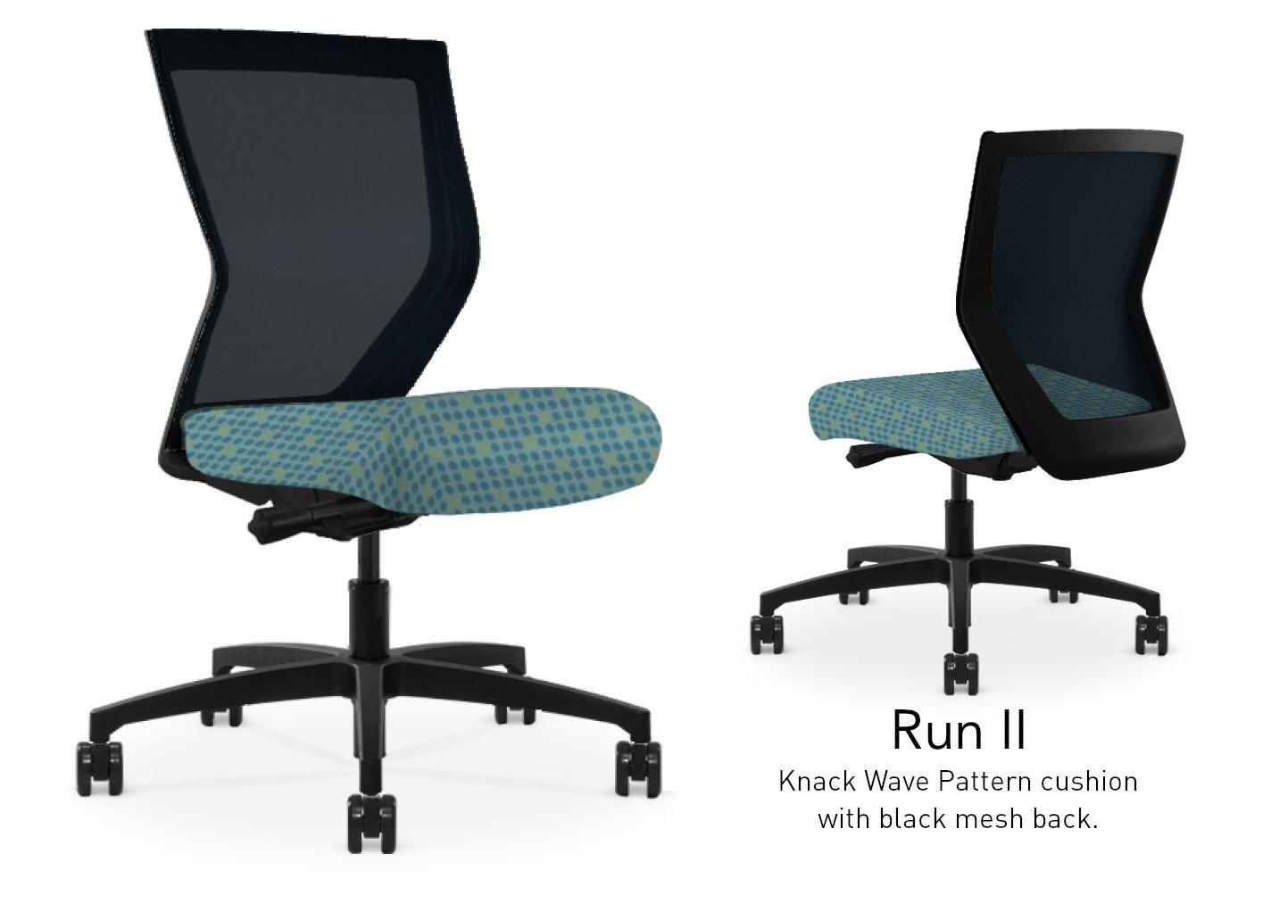Run II High Back Black Frame Office Chair with Black Mesh Back