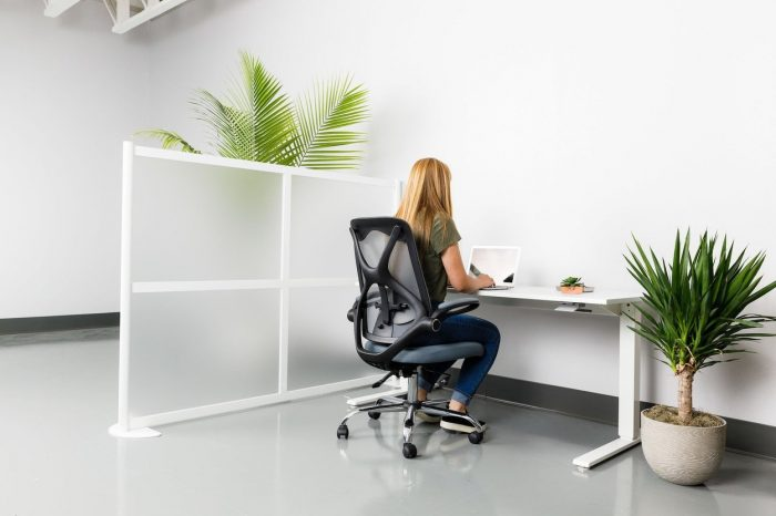 A single workstation with a Split model screen to the left, using a break style. The woman is using a laptop, and a potted plant rests on the floor beside her.