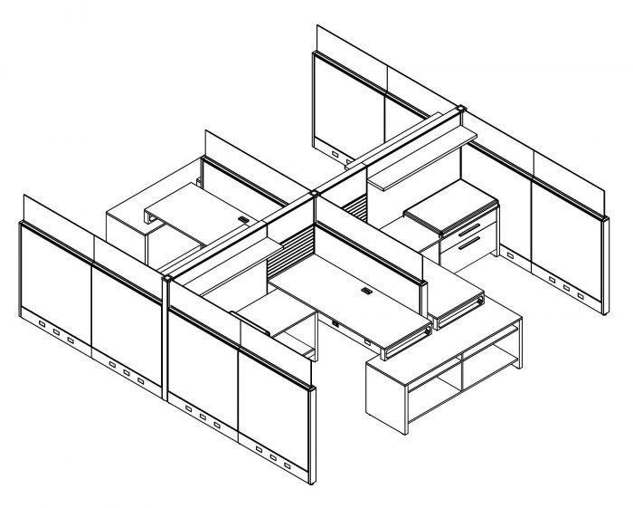 Technical drawing of Global's Evolve EV504 System, configured as a 4 pack of partially enclosed office cubicles. A small work area is placed at the back wall. At the end, is a pair of neighboring credenzas.