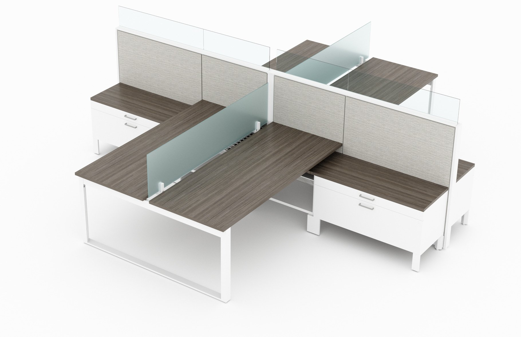 4-Person set of L-shaped workstations. Frameless Clear acrylic pieces make up the top of the partition, on one side of each workstation. Just below the main partition is a wide credenza, just under the work surface. At its side is a ledge for storing bags and purses. This is rendered on a white background. Model is EV507.