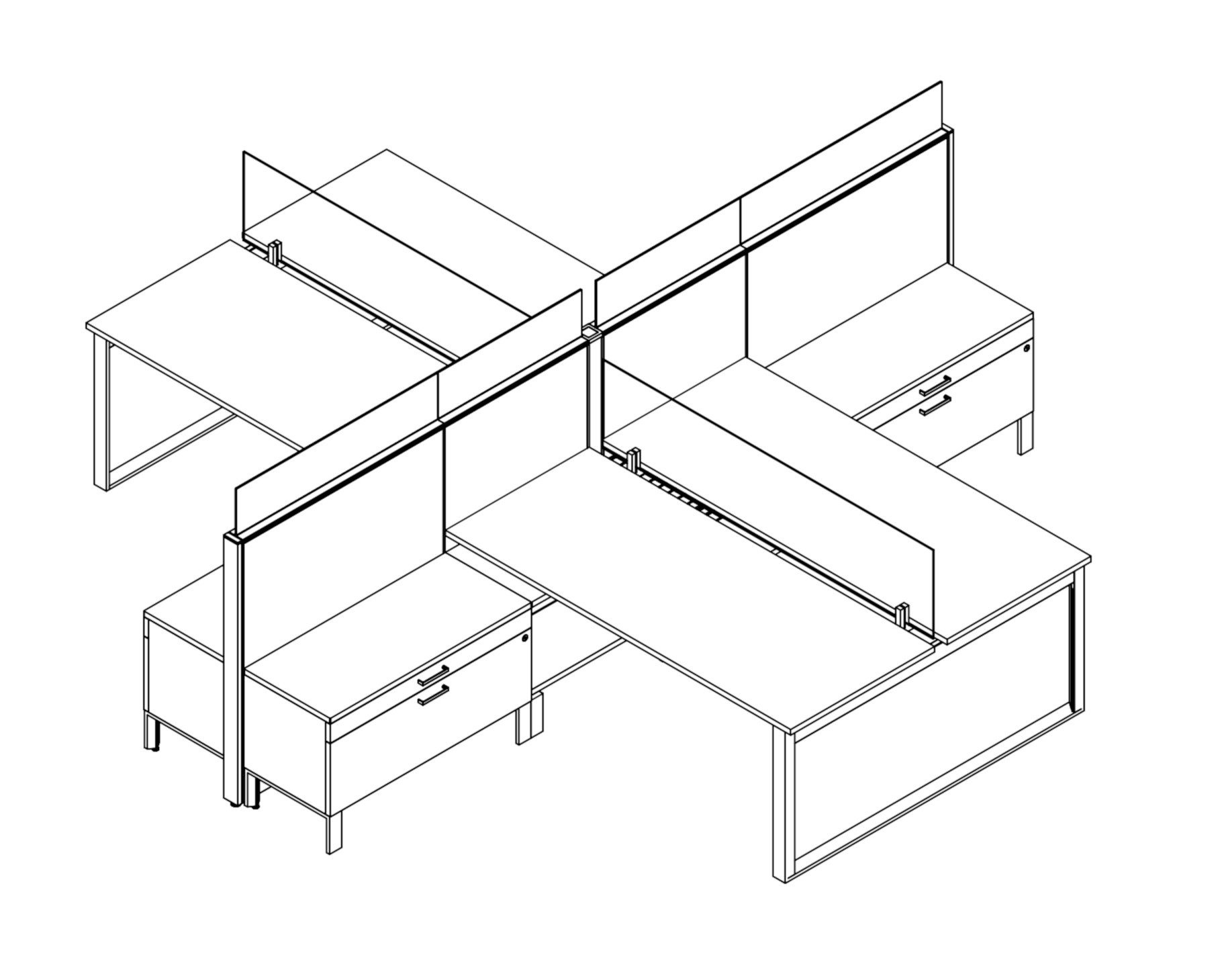 Technical drawing of Global's Evolve EV507 System, configured as a pair of facing cubicles (4-pack). A clear screen separates each facing station, and has a credenza on the neighboring sidewall.