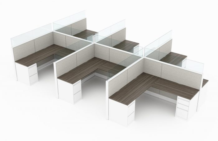 6-Person set of L-shaped workstations. Frameless glass pieces are featured on the top and side partitions. Two sets of supply drawers are placed at each end of each work station. of the partition. This is rendered on a white background. Model is EV510.