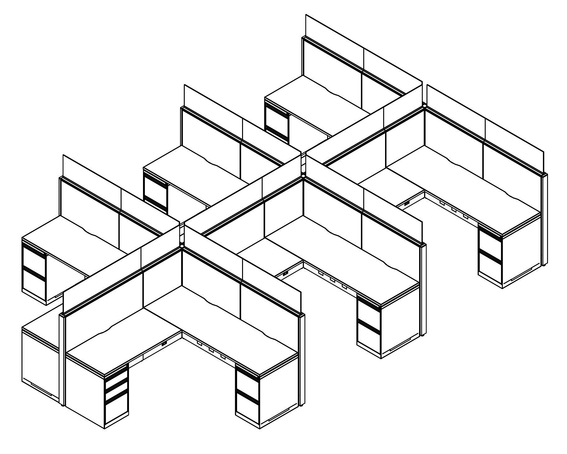 Technical drawing of Global's Evolve EV510 System, configured as a 6 pack of office cubicles. On the outer-sides of this arrangement is a pair of desk drawers.