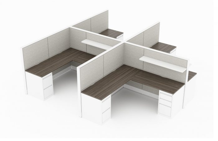 4-Person set of L-shaped workstations, with end paneling. Mobile pedestal drawers are underneath each side of each work area. A small wide shelf is mounted on the paneling that separates facing workstations. It is rendered on a white background. Model is EV511.