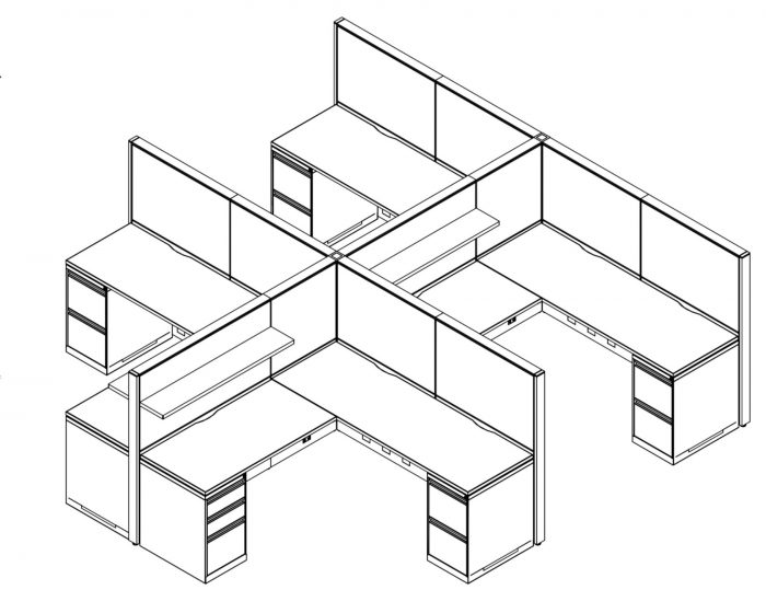 Technical drawing of Global's Evolve EV511 System, configured as a 4 pack of office cubicles.