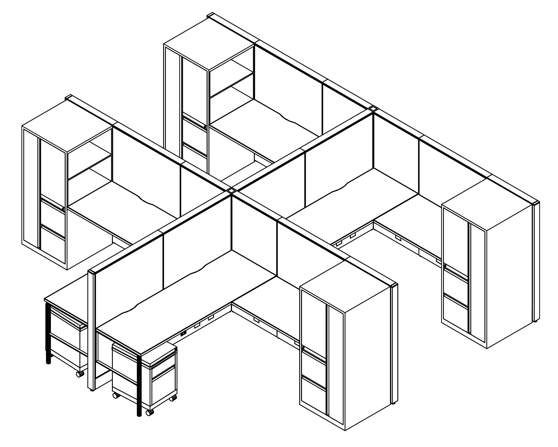 Technical drawing of Global's Evolve EV513 System, configured as a 4 pack of office cubicles. On the outer-sides of this arrangement is a full height cabinet with 2 drawers. Two shelves face to the user. A rolling pair of drawers is placed opposite.