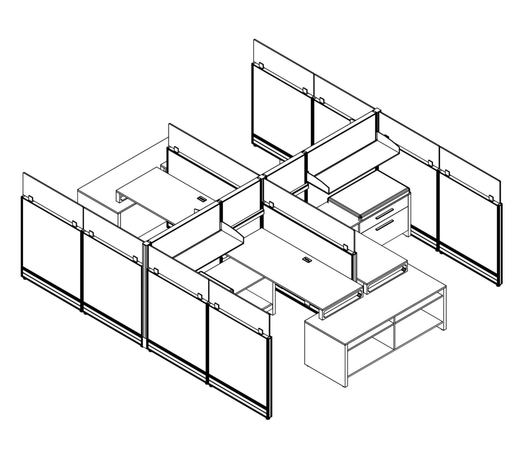 Technical drawing of the Compile CM504 4-Pack of work stations. Each station is partially enclosed, with a small work area placed on the back wall. At the front, is a pair of neighboring credenzas.