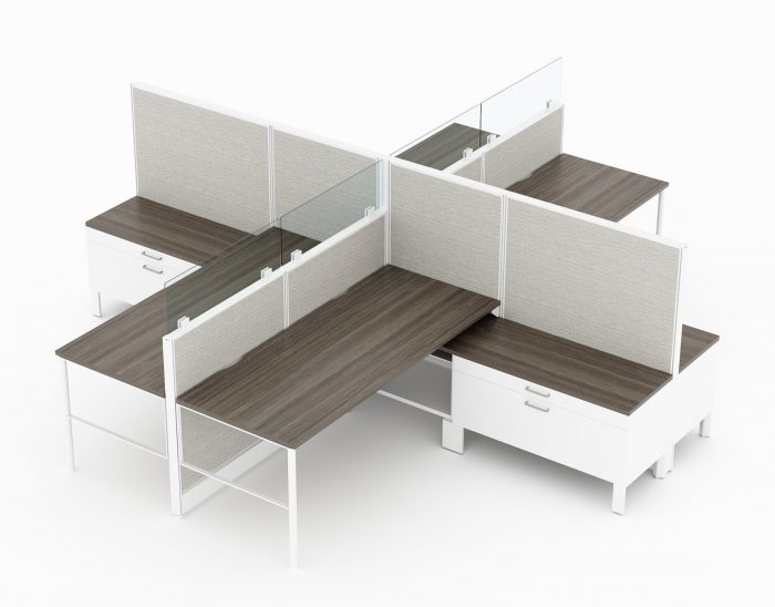 4-Person set of L-shaped workstations, with high paneling, end to end. Each station is partially enclosed, with a small work area placed on the back wall. At the front, is a pair of neighboring credenzas. Model is CM504.