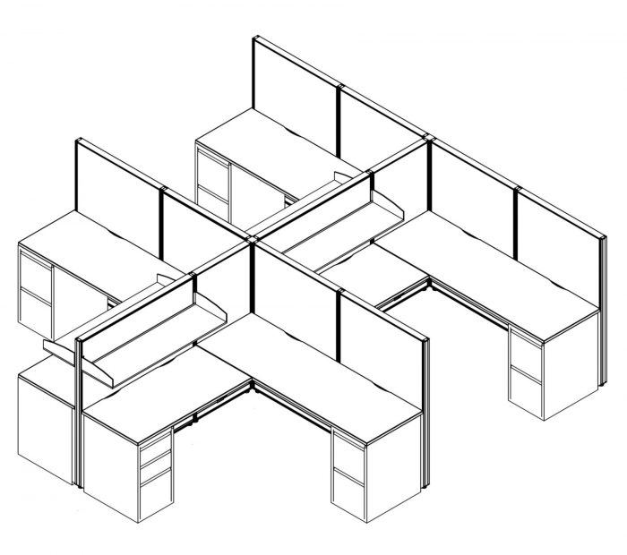Technical drawing of the Compile CM511 4-Pack of work stations. Each station is partially enclosed, with a small shelf above each workstation. On each side is a set of drawers, for storing files and supplies.