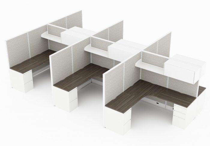 6-Person set of L-shaped workstations, with high paneling, end to end. A set of office supply drawers are placed at each side, underneath the table. Above is a shelf with a closed storage space on the other half. Model is CM512.