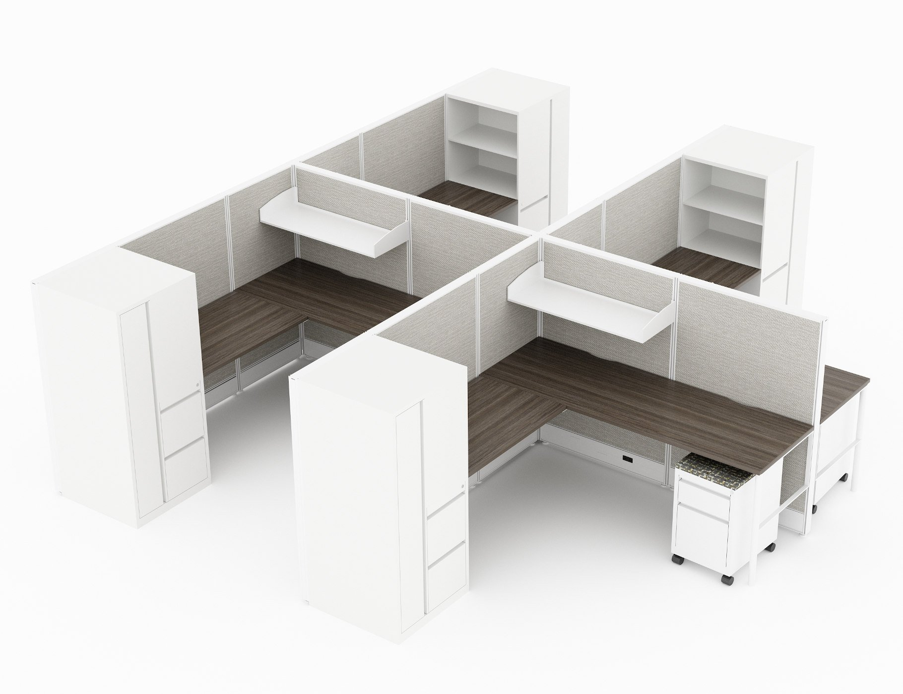 4-Person set of L-shaped workstations, with high paneling, end to end. A shelf is set above each workstation. Pedestal drawers are rolled underneath. Opposite is a full height storage cabinet, with large storage areas, and three drawers. Model is CM513.